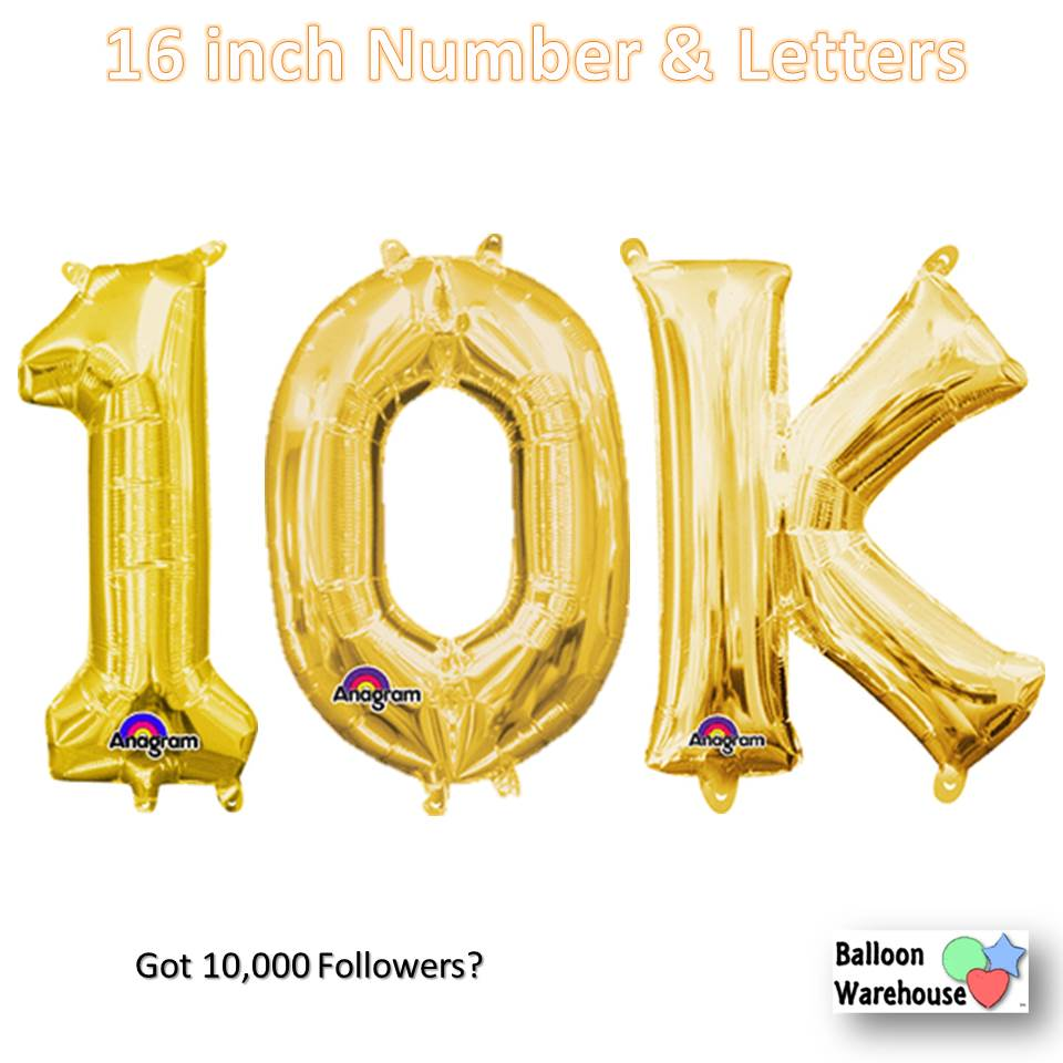 gold number 10k 16in air fill mylar balloons balloon warehouse