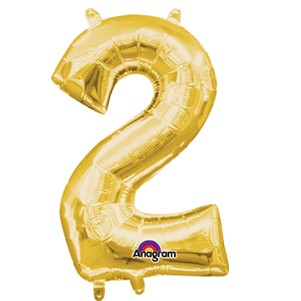 Gold Number 2 - 16in  Air-Fill Mylar Balloon