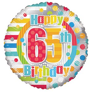 18 Happy 65th Birthday Dots Lines Foil Balloon