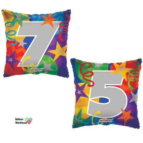 75th Birthday Streamers Design Set Of 2 18 Foil Balloons