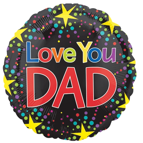 18 Love You Dad Dots Fathers Day Foil Balloon