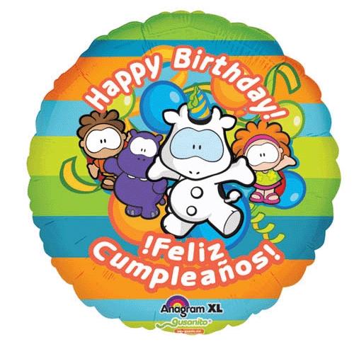 18 Gusanito Happy Birthday Feliz Cumpleaños Foil Balloon