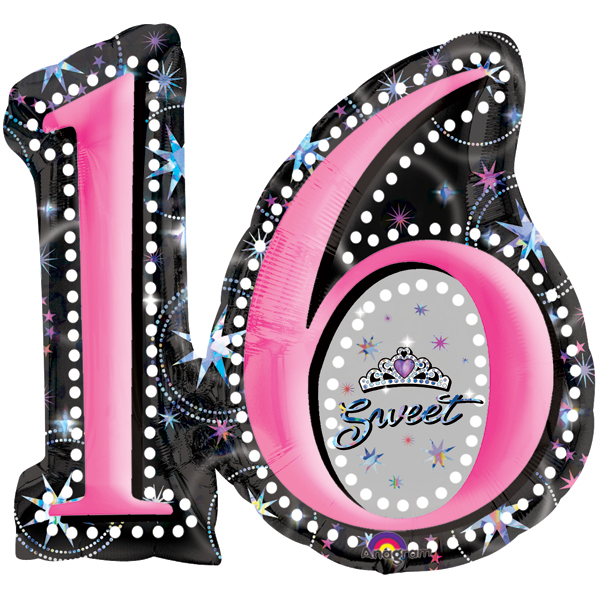 28 sweet 16th birthday prismatic sparkle shape mylar balloon
