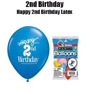 11 Happy 2nd Birthday Assorted Colors Latex Balloons 5 Bag