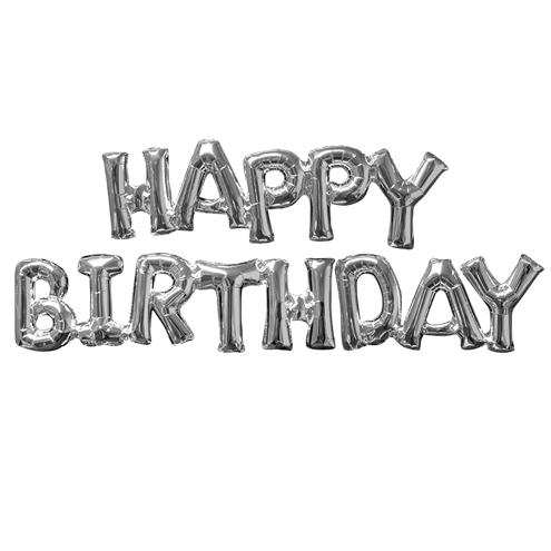 Happy Birthday Silver Phrase Air Fill Mylar Balloons