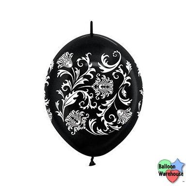 12 damask metallic black link o loon latex balloons 50 bag