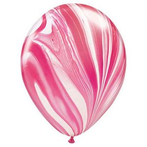 Red & White SuperAgate Latex Balloons
