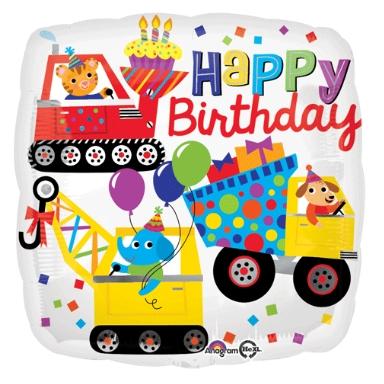 18 inch Happy Birthday Under Construction Balloon