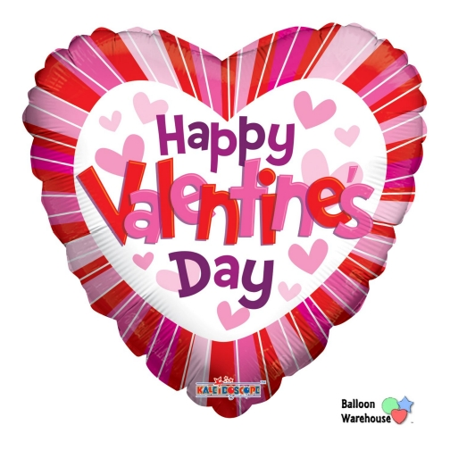 18 Hearts Lines Happy Valentines Day Mylar Foil Balloon