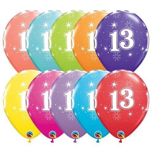 11 13th Birthday Printed All Around Assorted Color Latex Balloons 6 Bag