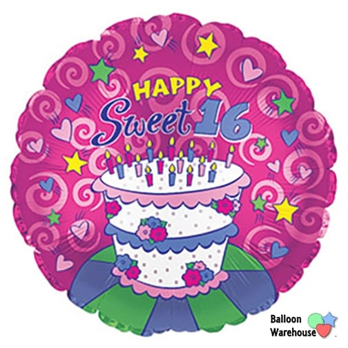 18 Sweet 16 Happy Birthday Cake Mylar Balloon Sixteen