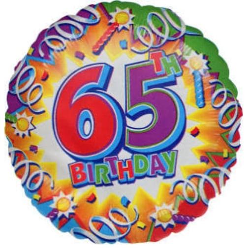 18 Happy 65th Birthday Explosion Prismatic Foil Balloon