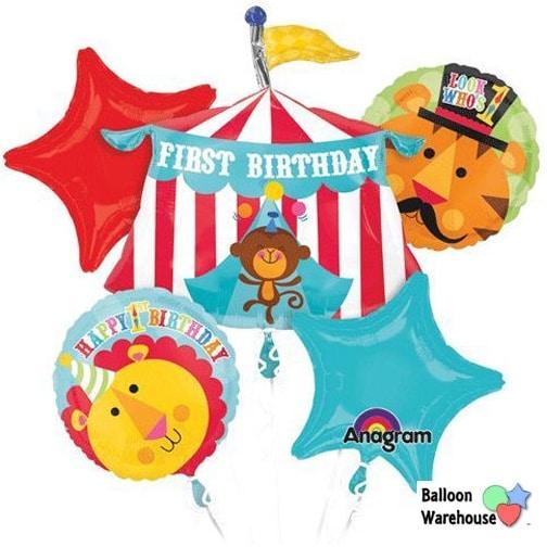 1st Birthday Fisher Price Happy Circus Animals Mylar Foil Balloon Bouquet Set