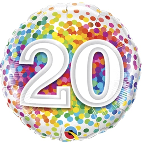 18 20th Birthday Rainbow Confetti Foil Balloon