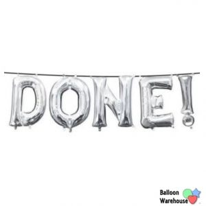 Air-Filled Silver Done Letter Balloon Kit 5pc