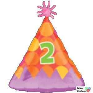 HAPPY 2nd BIRTHDAY 2 Today Hat Shape Foil Helium Balloon