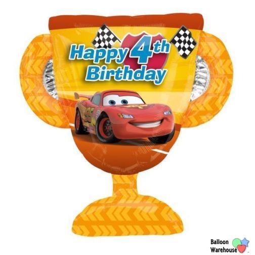 27 DISNEY CARS 4th Birthday Trophy Mylar Foil Balloon