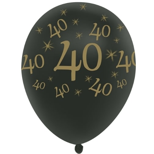 40th BIRTHDAY Qualatex 10 x 11inch BLACK /& SILVER /'40/' PRINTED LATEX BALLOONS.