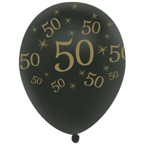 12 50th Birthday Or Anniversary All Around Latex Balloons 5 Bag