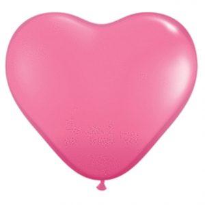 "11"" Qualatex Heart Latex - Rose"