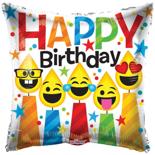 18 Happy Birthday Emoji Face Candles Square Foil Balloon