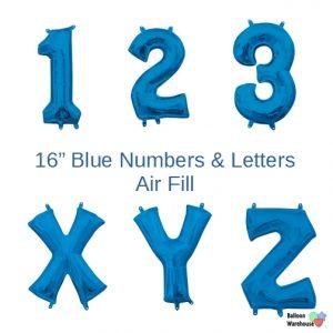 16in. Air Fill Blue Number & Letter Mylar Foil Balloons