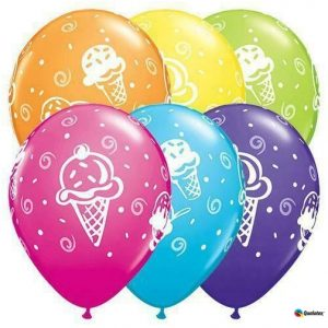"""11"""" Ice Cream Treats Latex Balloons, Pack of 50 by Qualatex"""