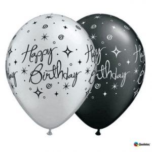 "11"" Qualatex Birthday Elegant Sparkles Black/Silver"
