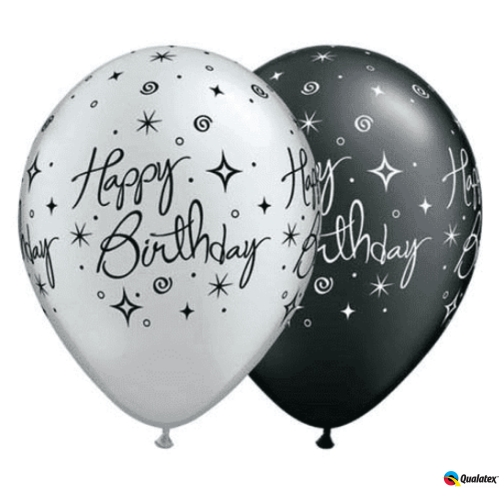 "10 x Age 30-A-Round 30th Birthday Black /& Silver 11/"" Qualatex Latex Balloons"