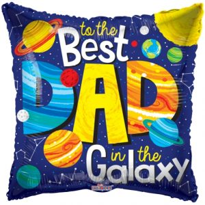 """18"""" To The Best Dad In The Galaxy Foil Balloon"""