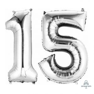 Number Bunch 1-5 Balloon - Silver