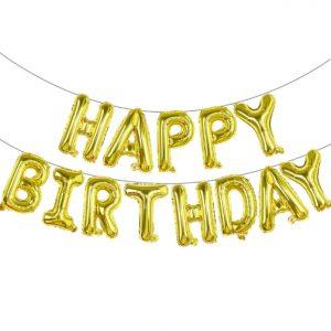 "14"" Happy Birthday Air Fill Gold Foil Balloons"