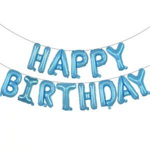 "14"" Happy Birthday Air Fill Pastel Blue Foil Balloons"