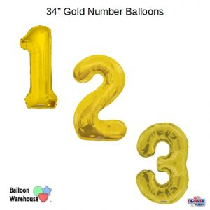 34 Inch Gold Number Balloons ConverUSA Brand