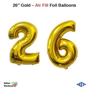 26 Inch Gold Number Balloons - Air Fill