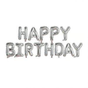 "14"" Happy Birthday Air Fill Silver Foil Balloons"