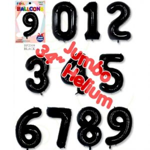 34 Inch Black Number Balloons