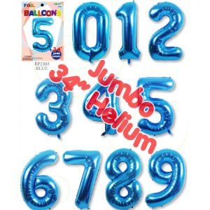 34 Inch Blue Number Balloons