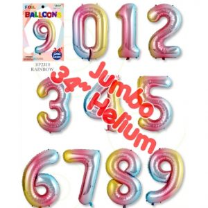 34 Inch Rainbow Number Balloons - Trico Brand