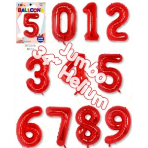 34 Inch Red Number Balloons - Trico Brand