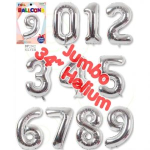 34 Inch Silver Number Balloons