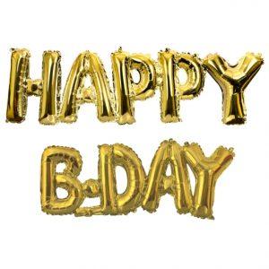Gold Happy B-Day Phrase