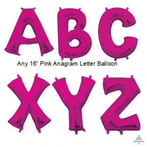 16in. Air Fill Pink Number & Letter Mylar Foil Balloons - Angram