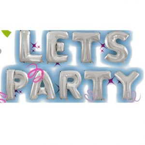 Lets Party Silver Letters