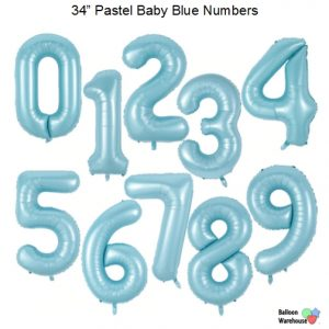 """34"""" Pastel Baby Blue Number Balloons"""