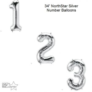34 Inch Silver Number Balloons - NorthStar