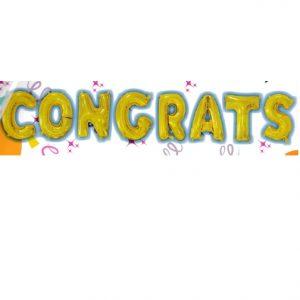 "16"" Gold Congrats Letter Balloons"