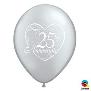 "11"" Qualatex Happy 25th Anniversary - Silver"