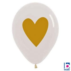 11″ Betallic Crystal Clear Heart of Gold Latex Balloons