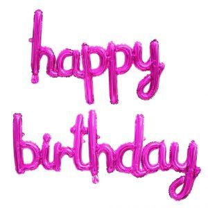 Happy Birthday Script Phrase Air Fill Hot Pink Foil Balloons